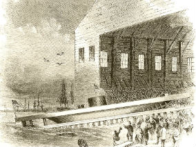 Launch of USS Monitor, 1863. Photo from Harpers Weekly.