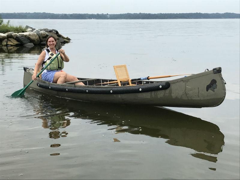 Diane Caslow in a canoe in Calvert County, MD.