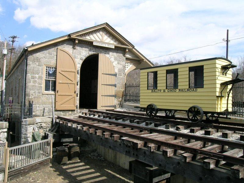 Train cars at the ca. 1830 B&O Railroad Museum in Ellicott City.