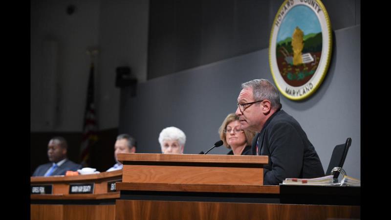 Howard County Council deliberates Ellicott City demolition funding. Courtesy, Baltimore Sun.