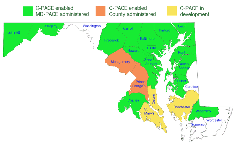 map of C-PACE eligible counties in Maryland.