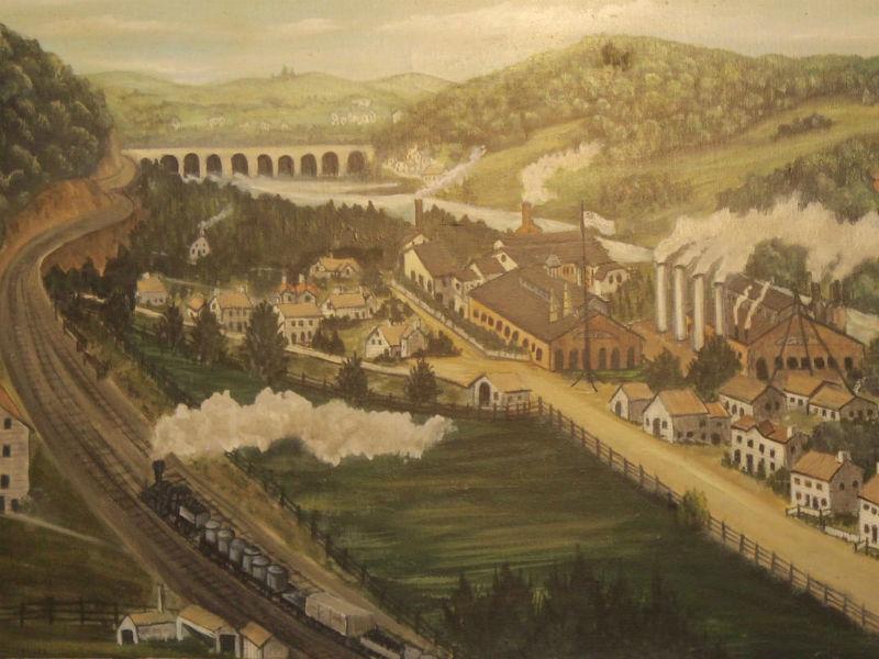 Historic painting of Avalon Iron Works.