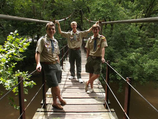 Scouts on Swinging Bridge.