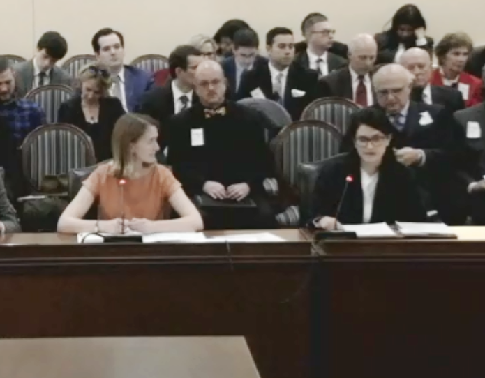Preservation Maryland Director of Advocacy, Elly Cowan (R) testifies beside bill sponsor, Del. Brooke Lierman (L) on local consent for toll roads.
