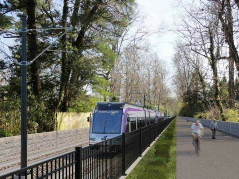 Rendering of a Purple Line train, similar to those that could eventually ride on the southern Maryland rapid transit system.
