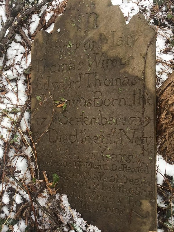 Headstone at Thomas Cemetery, Point of Rocks, 2019.