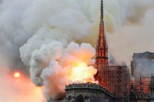 The flames engulfing Notre Dame, April 14, 2019. Courtesy, Politico.