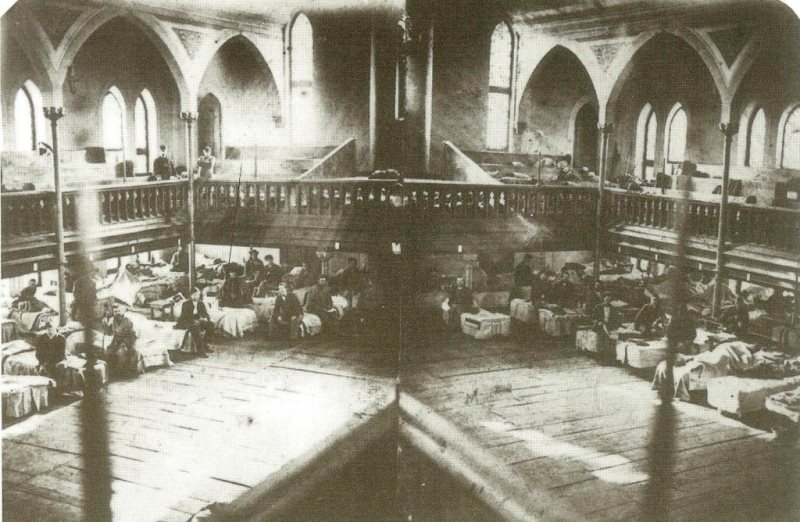 Frederick's Evangelical Lutheran Church with hospital patients, 1862.