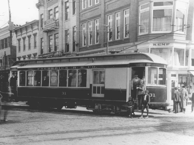 Frederick streetcar, ca. 1900. Photo from Maryland State Archive.