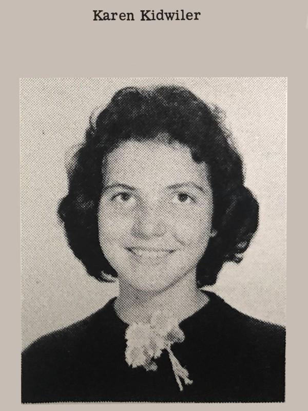 Karen Cornelius' high school photo, 1960s.