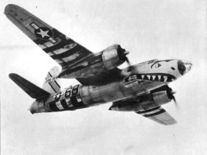 B-26 of the 599 Bomb Squadron with D-Day invasion stripes. Photo from U.S. Army.