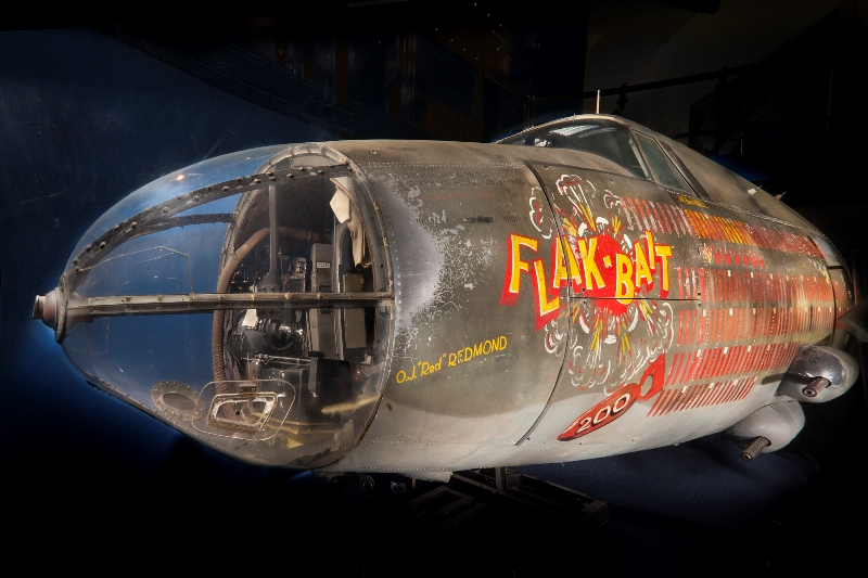 "Close-up view of Martin B-26B Marauder ""Flak-Bait"" as displayed in the Smithsonian National Air and Space Museum"