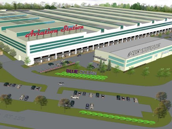 Architectural rendering of redevelopment at Aviation Station. Image from Blue Ocean Realty.