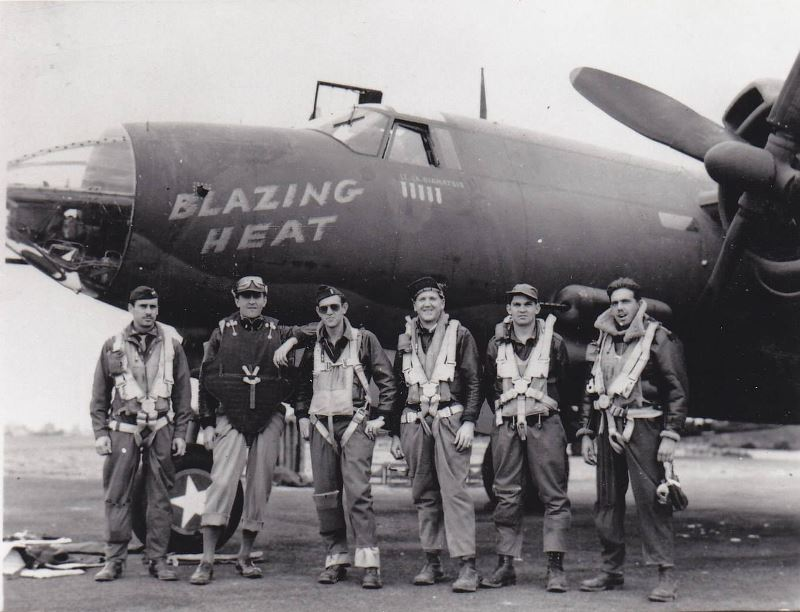 "Crew of the B-26 ""Blazing Heat,"" 553rd Bomb Squadron, 386th Bomb Group."