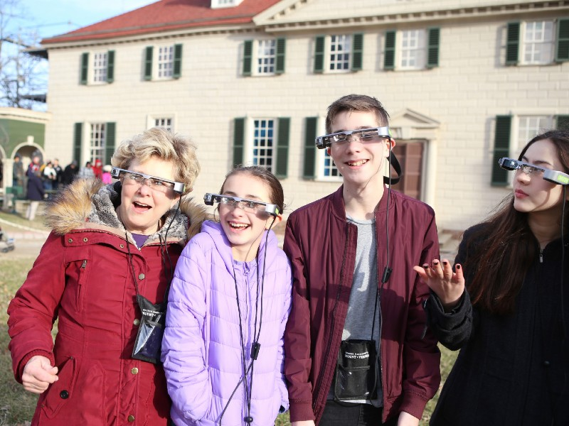 Augmented reality tour takers at George Washington's Mount Vernon, 2019.