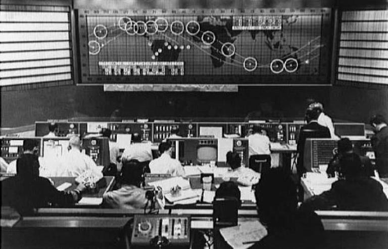 The Manned Space Flight Network Control Center at Goddard Space Center in Greenbelt, Maryland. (NASA)