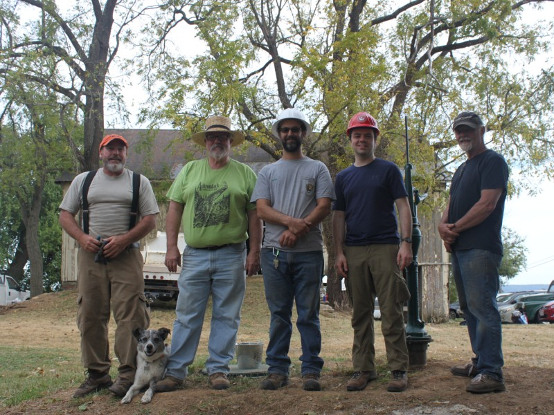 Traditional Trades Training Program Moss Rudley, center, at Shafer Farm, Burkittsville, MD, 2017.