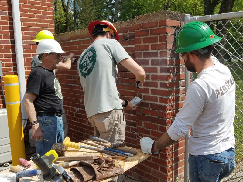Traditional Trade Apprenticeship Program students learning masonry. Photo by National Preservation Training Center.