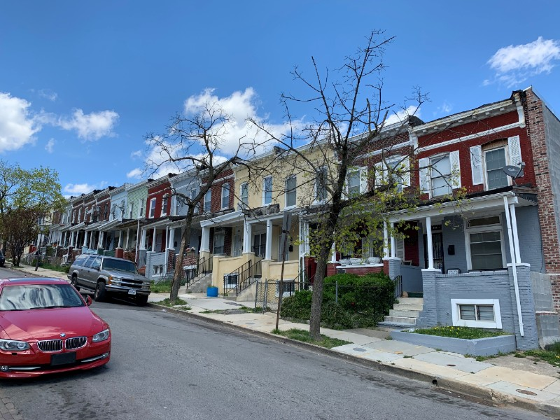 Streetscape of Baltimore rowhomes in proposed Midway Historic District.