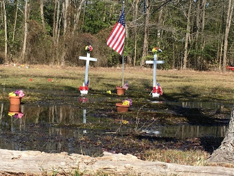 Flooding at Shesley Cemetery, Anne Arundel County. Photo from Anne Arundel County.