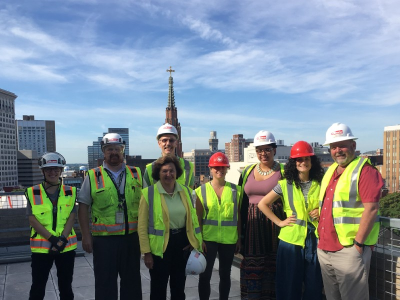 Preservation Maryland and partners on a hard hat tour of the Pratt Library, June 2018.