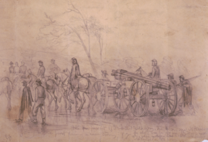 The pursuit of Gen. Lee's rebel army after Gettysburg by Edwin Forbes. Library of Congress.
