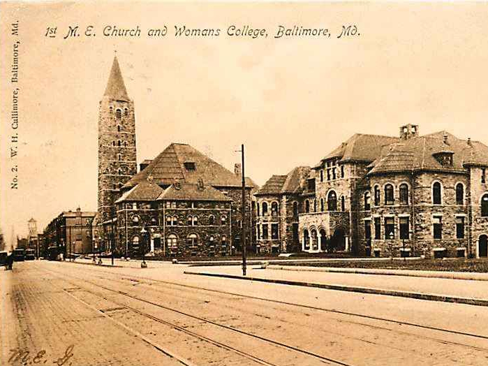 Historic postcard of ca. 1880s Lovely Lane United Methodist Church in Baltimore City.