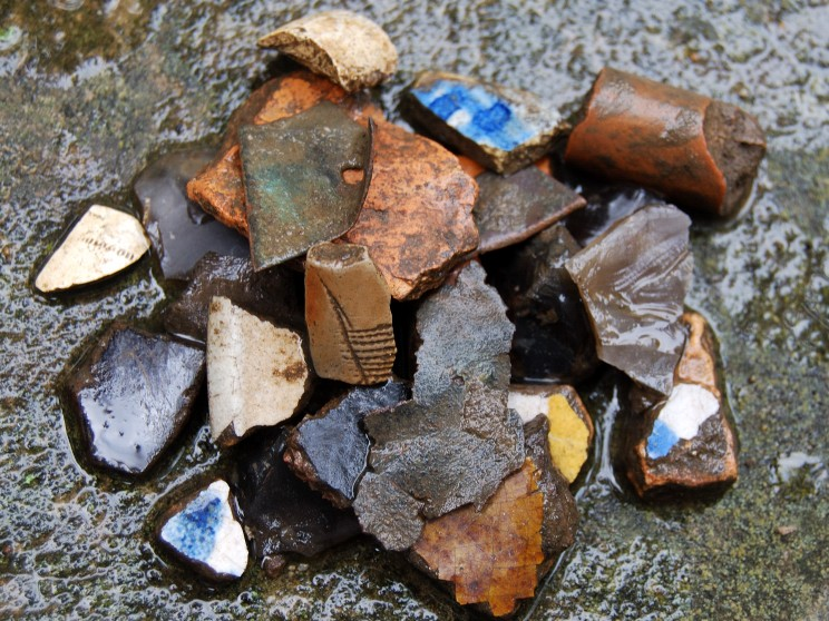 Pieces of colonial and native ceramics found at Gerard archaeological site.