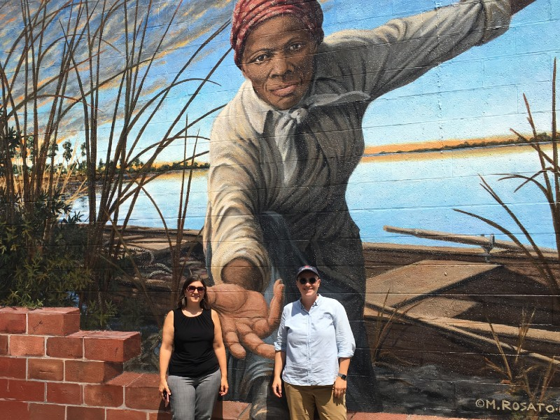 Preservation Maryland staff at the new mural of Harriet Tubman in Cambridge, MD, 2019.