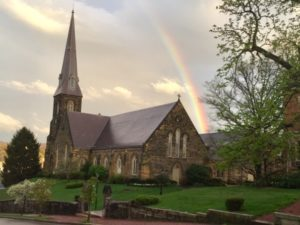 Rainbow over Emmanuel Episcopal Church in Cumberland, MD. Photo from the Emmanuel Episcopal Church Facebook.