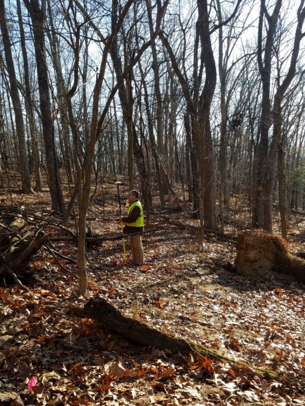 Archaeologists conducting a site survey to find Fort Tonoloway in Maryland, 2019.