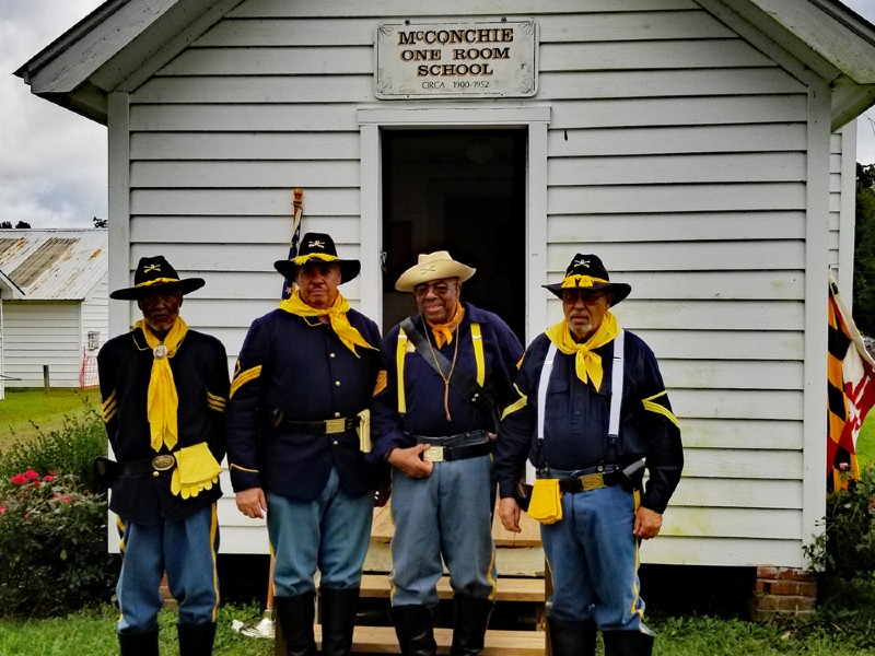 Historical interpreters representing Buffalo Soldiers at the McConchie One-Room School House, La Plata, MD.
