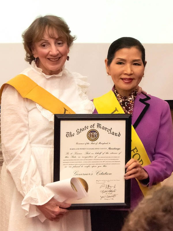 First Lady of Maryland Yuki Hogan (right) with the Rep. Trent Kittleman, Annapolis, MD, January 2020.