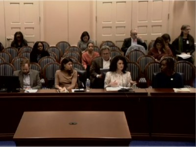 Preservation Maryland Director of Advocacy Elly Cowan at a hearing for HB862 in Annapolis, MD, 2020.