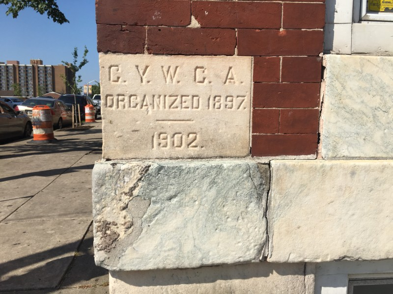 Cornerstone of the CYWCA on Druid Hill in Baltimore, MD, 2019.