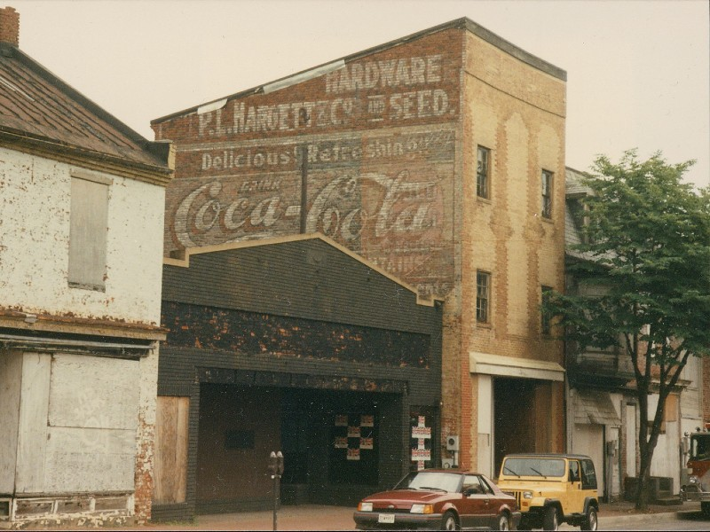 Historic advertisement along Market Street in Frederick, now demolished.