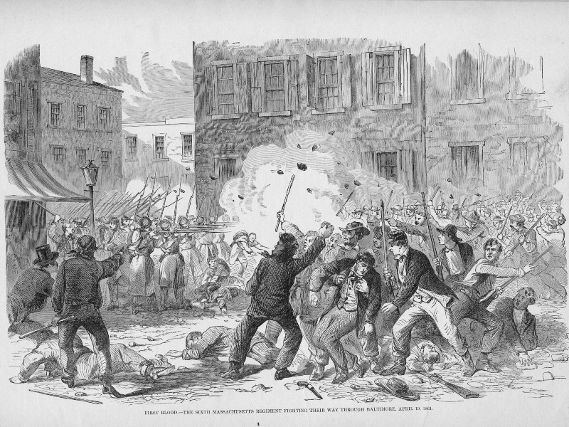 Illustration of the Pratt Street Riots in Baltimore, MD, 1861.