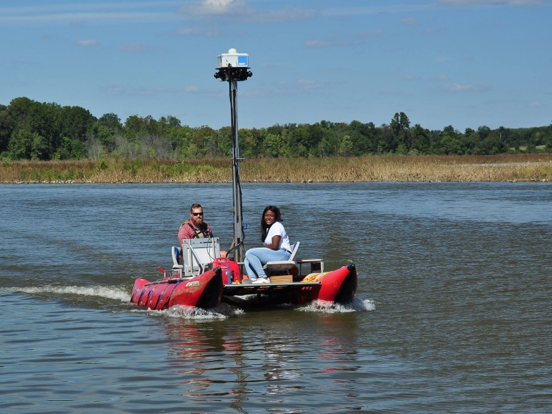 Capturing the virtual footage by boat on the Patuxent River, 2017. Photo from Chesapeake Conservancy.