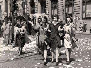 Baltimoreans celebrate VE Day, May 8, 1945. Courtesy, Baltimore Sun.