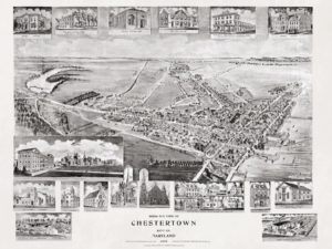Historic bird's eye view map of Chestertown, Maryland, 1907 by Thaddeus Mortimer Fowler. Image from Vintage City Maps.