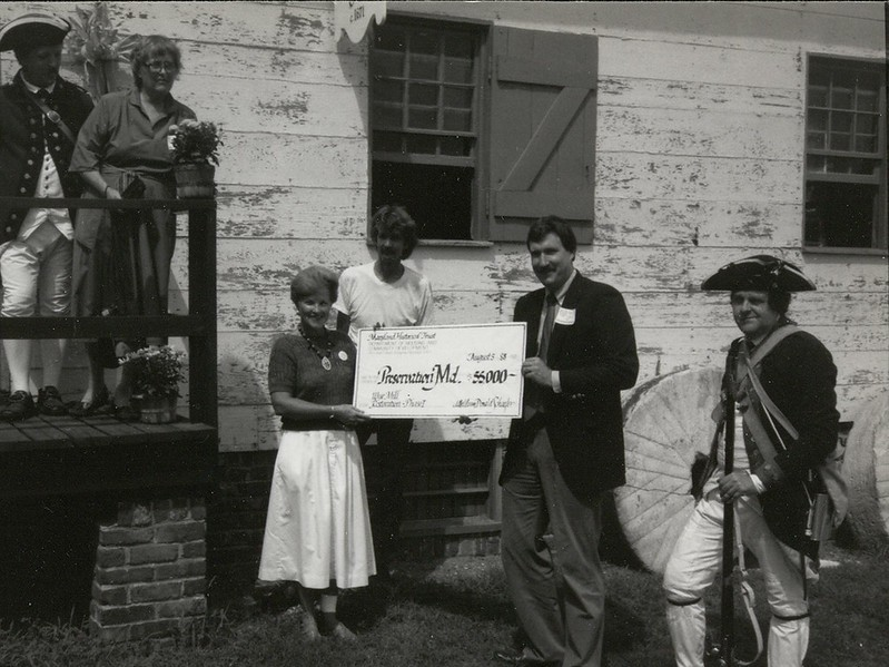 Vintage check presentation at Wye Mill, MD. Photo from Preservation Maryland.