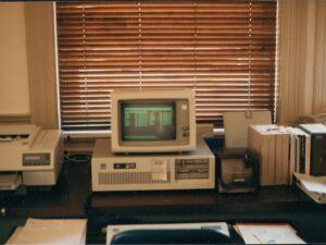 Vintage computer at a former Preservation Maryland office. Photo from the Preservation Maryland Collection.