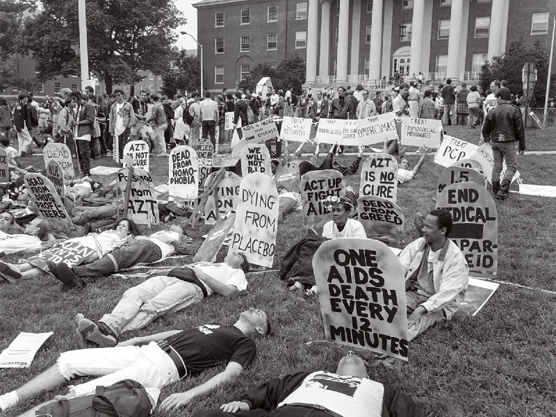 ACT-UP protests for AIDS care at NIH, Bethesda, MD, 1990s.
