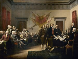 John Trumbull's painting Declaration of Independence, depicting the five-man drafting committee of the Declaration of Independence presenting their work to the Second Continental Congress.