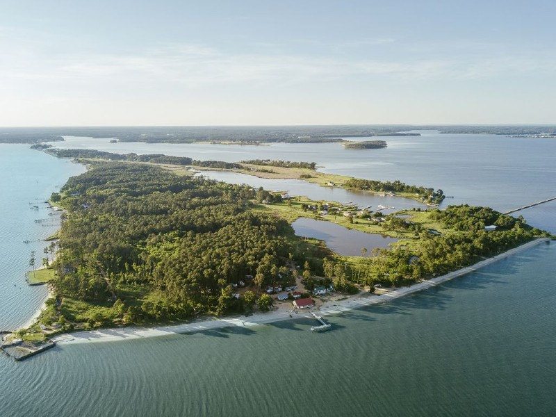 Aerial view of St. George's Island, Maryland. Photo from VRBO.