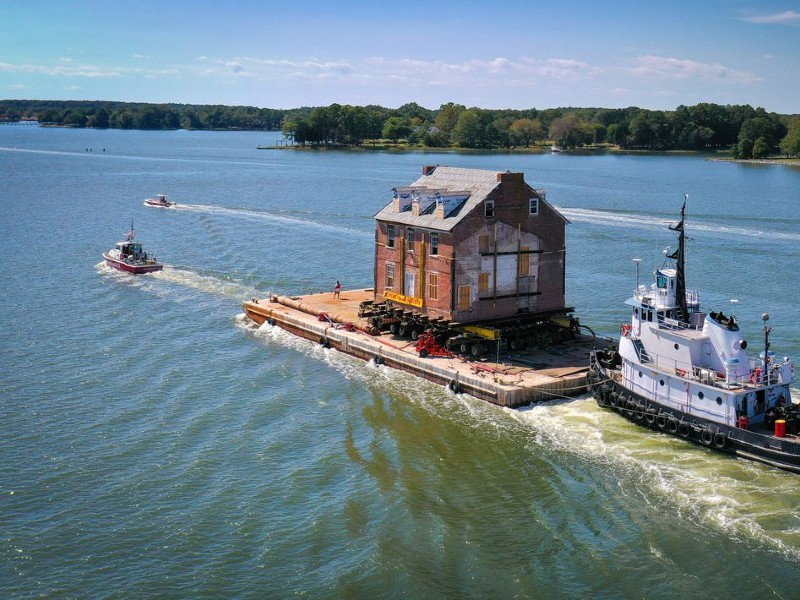 Image of Expert House Movers Moving Mansion across Bay