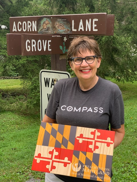 Susan Van Nostrand, organizing volunteer of the Washington Grove street sign project with Best of Maryland Award, 2020.