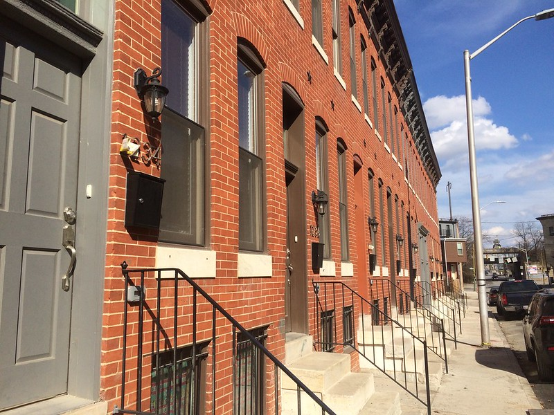 Rehabilitated rowhouses, 1200 block of N. Gay Street (northwest side), Baltimore, MD, 2017. Photo from Baltimore Heritage.