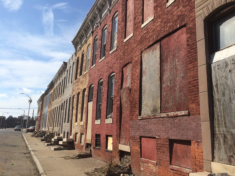Vacant rowhouses, 1200 block of N. Gay Street (northwest side), Baltimore, MD, 2017. Photo from Baltimore Heritage.