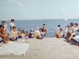 Beachgoers in the 70s at Highland Beach in Anne Arundel County. Photo from Highland Beach.